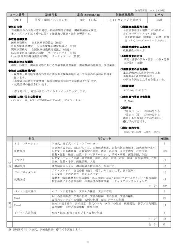 愛知県・名古屋で職業訓練≫医療・調剤・パソコン科