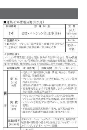 神奈川で職業訓練≫宅建・マンション管理事務科